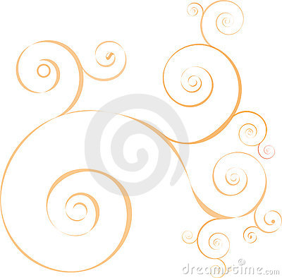 Abstract decorative circlular orange  waves