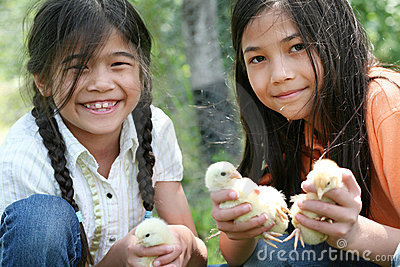 Children holding pet chicks