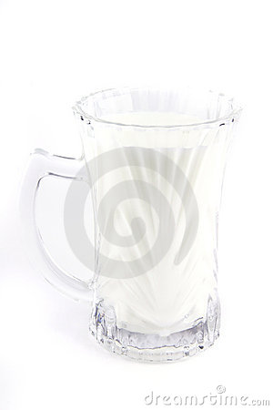 Milk in transparent glass