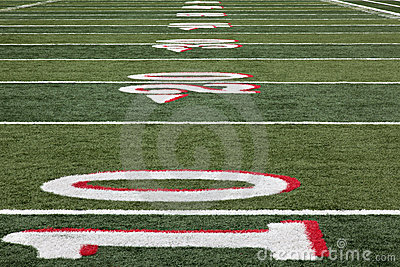 Football field from 10 yard line