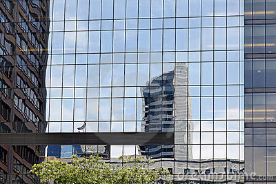 Reflections in office building windows
