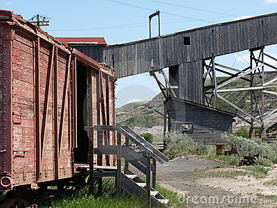 Boxcar and mine shaft.
