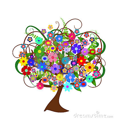 Colorful abstract flower tree