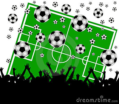 Soccer field and fans on white background