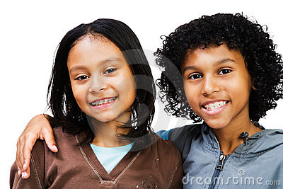 Portrait of two children smiling