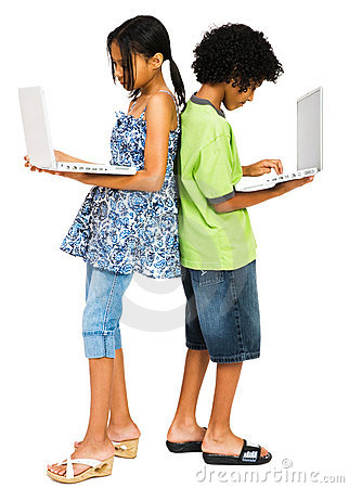Two children working on laptops