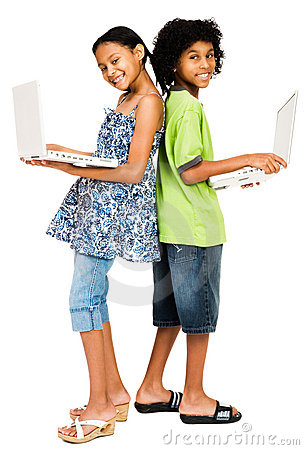 Children holding laptops and smiling