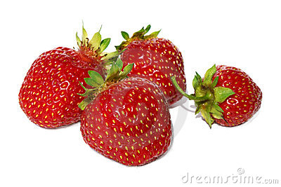 Some ripe red strawberries.
