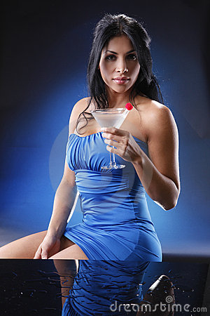 Martini girl on blue.