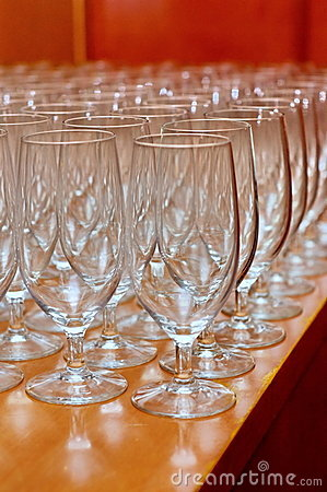 Rows of wine glasses