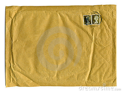 Large brown envelope with first class stamps