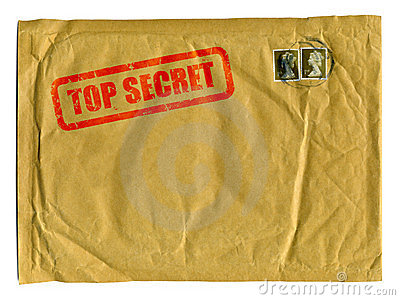Large brown envelope with Top Secret stamp