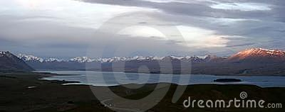 Panorama of lake Tekapo in New Zealand