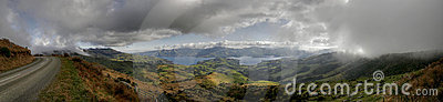 Panorama of akaroa in New Zealand
