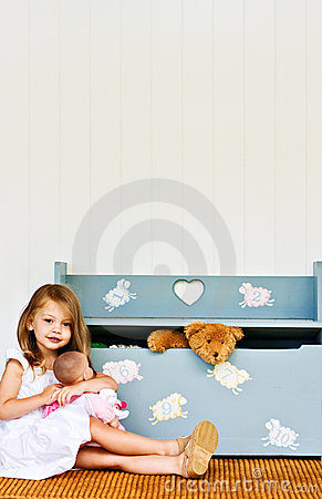Child with toy chest