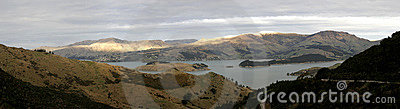 Panorama from Port Hills in New Zealand