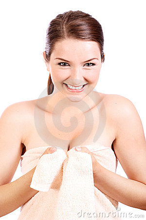 Smiling woman wearing bath towel