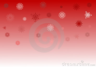 Red and white snowflake background