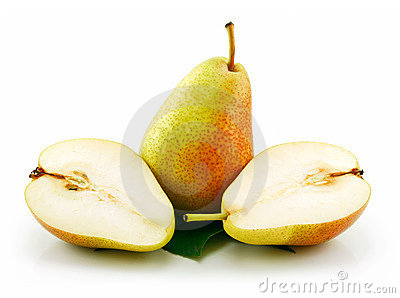 Sliced Ripe Green Pear Isolated on White