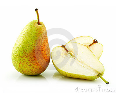 Sliced Ripe Pear Isolated on White