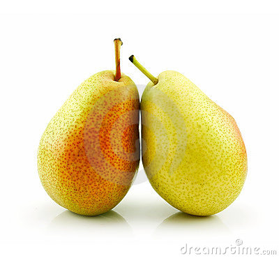 Two ripe pears isolated on white