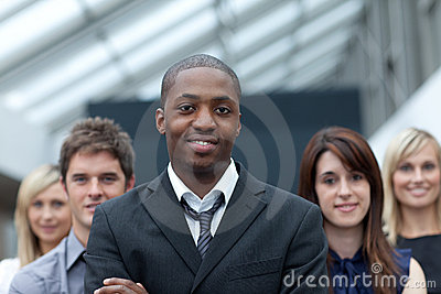 Afro-American businessman leading his team