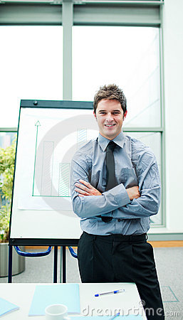 Young businessman in a meeting