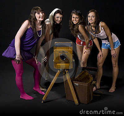 Girls with vintage camera