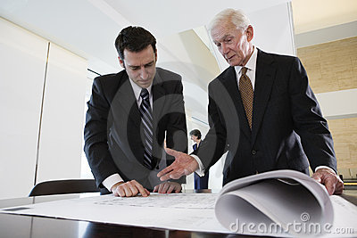 Businesspeople reviewing plans in a meeting.