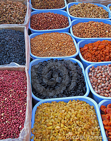 Oriental bazaar objects - dry fruits and nuts