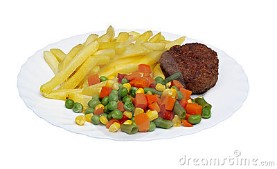 Cutlet with fried potatoes and salad