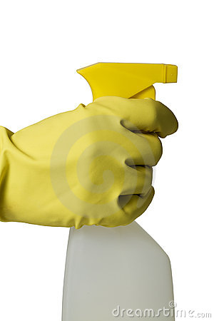 Hand in rubber glove with spray bottle