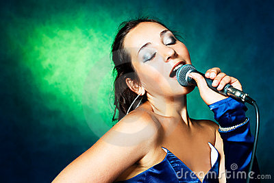Singer with a microphone