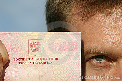Man holding russian pass