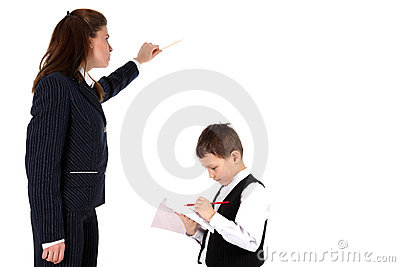 Teacher and boy