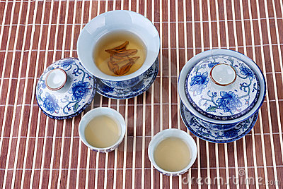 Blue and white porcelain teacups