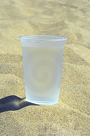 Plastic glass with water