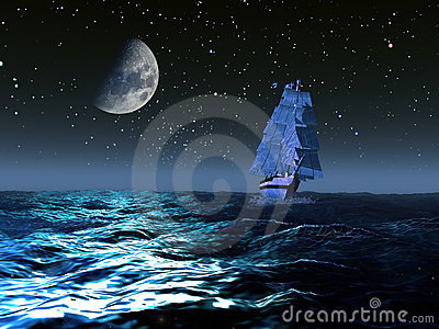Sailboat under the moon