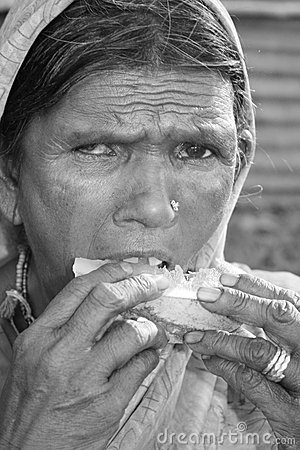 Hungry Woman in Poverty