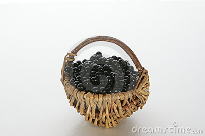 Elderberries in a small basket