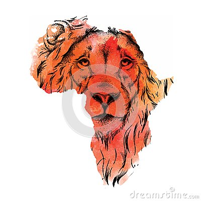 Ethnic hand drawing head of lion in the vector map of Africa. Vector illustration. Abstract Background with Watercolor Stains