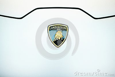 Berlin, October 2, 2017: Volkswagen Group Forum - auto show in Berlin. Close-up. Logo Lamborghini on the hood of a new