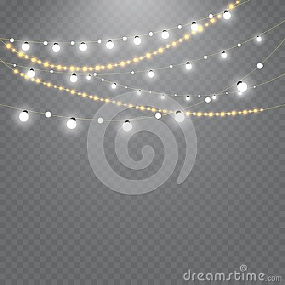 stock image of christmas lights isolated on transparent background. set of golden xmas glowing garland. vector illustration