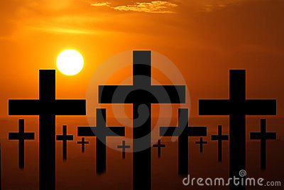 Sunset crosses