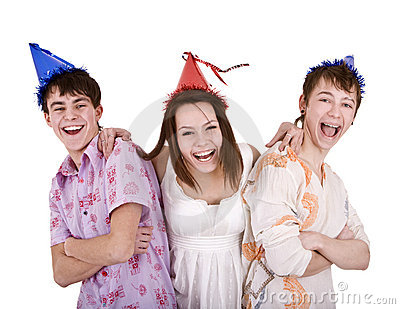Happy birthday group of young people.