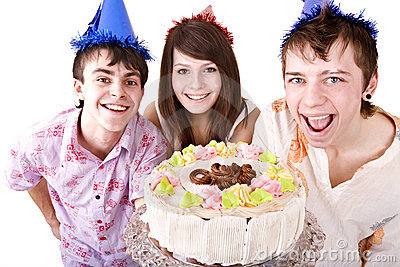 Group of teenagers celebrate happy  birthday.