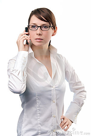 Young Business Woman holding Cell Phone