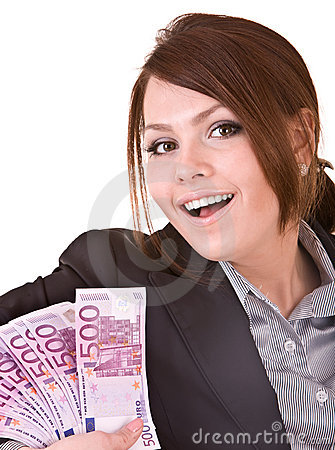 Happy woman with group of money.