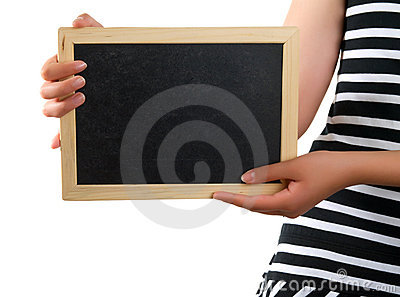 Blackboard in hand