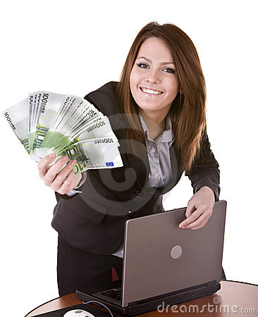Businesswomen with group of money and laptop.